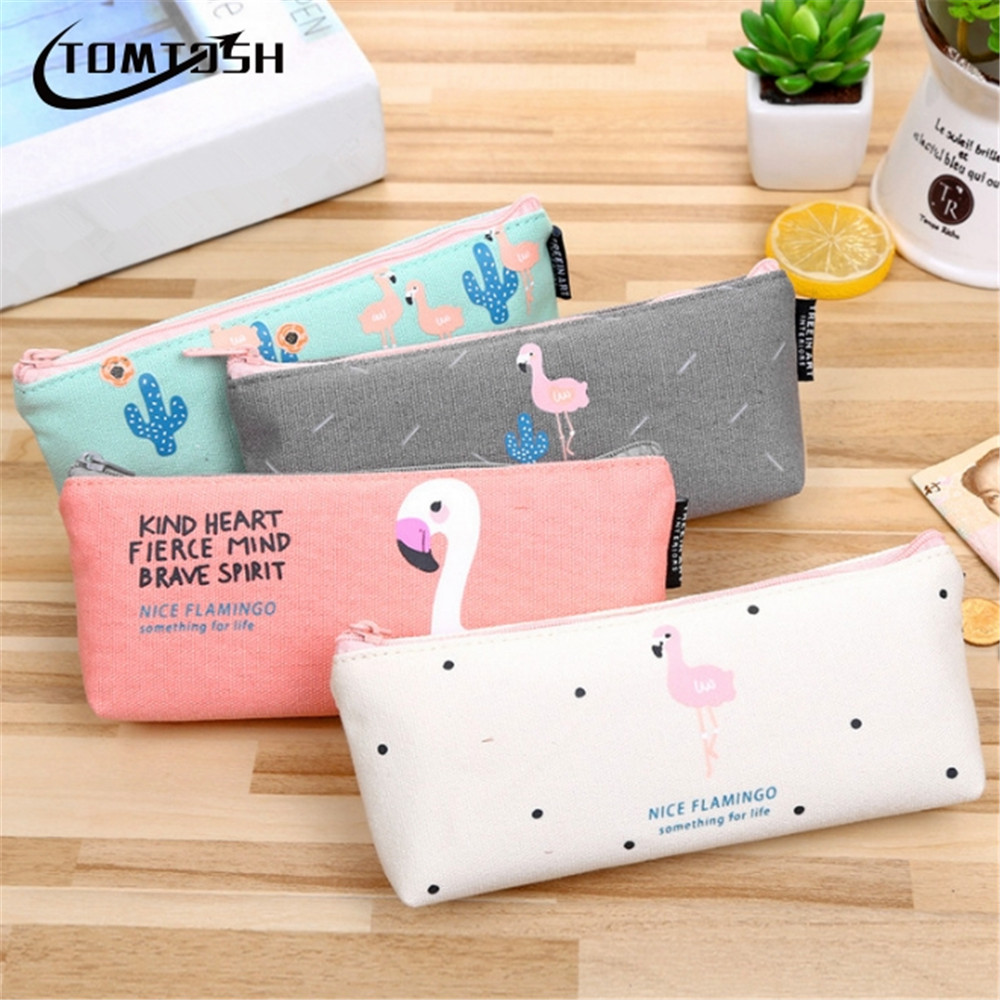 2017 NEW Kawaii Pencil Case Flamingos canvas School Supplies Bts Stationery Gift Estuches School Cute Pencil