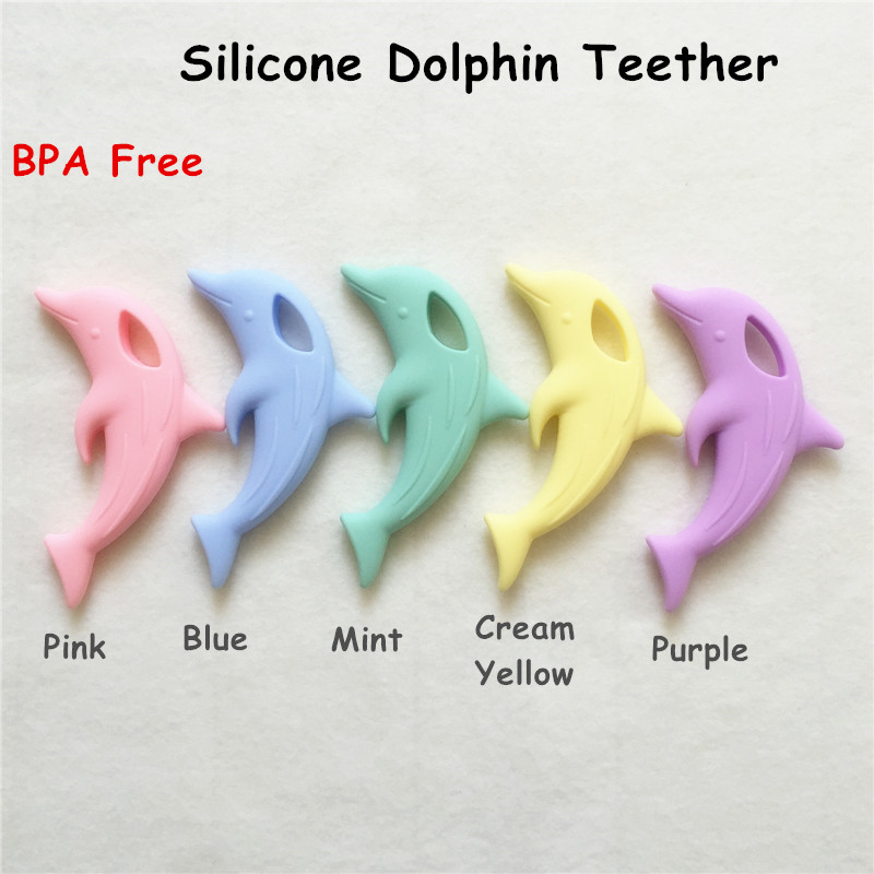 Chenkai 10PCS BPA Free Silicone Baby Dolphin Teether Pendant DIY Baby Pacifier Dummy Nursing Necklace Teether Toy Accessories