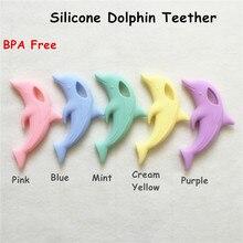 Chenkai 10PCS BPA משלוח סיליקון תינוק דולפין Teether תליון DIY תינוק מוצץ Dummy סיעוד שרשרת Teether צעצוע אבזרים