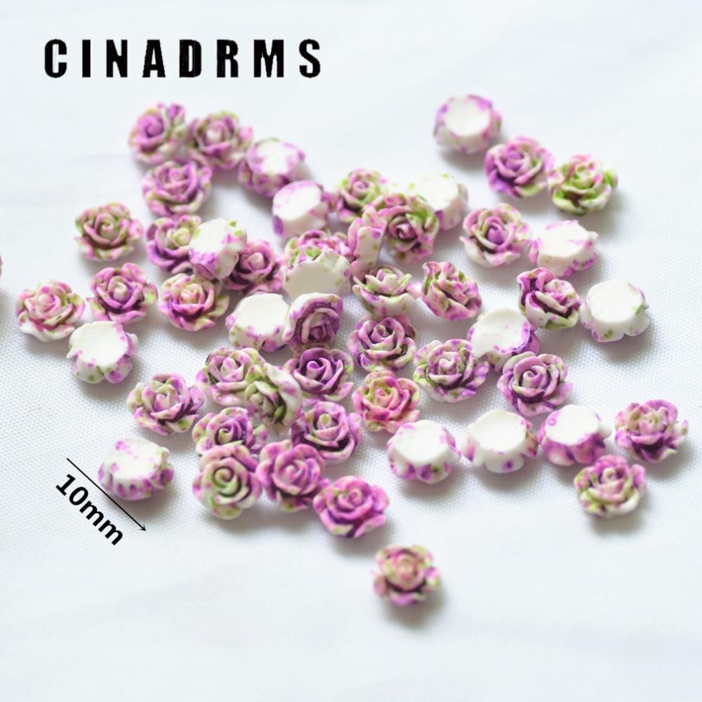10mm 100 Teile/paket Tiny Phantasie Lila-grüne Farbe Harz Blumen, Harz Flatback Blumen, Blume verschönerung