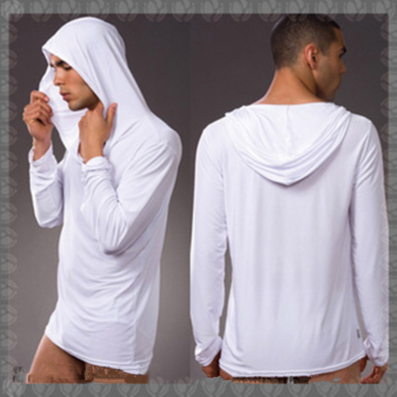 Sexy Men's Hoodies Sweater Men Sleepwear Underwear Ice Silk Home Wear Soft And Elastic Pajama Sets Night Bath Tops + Pants
