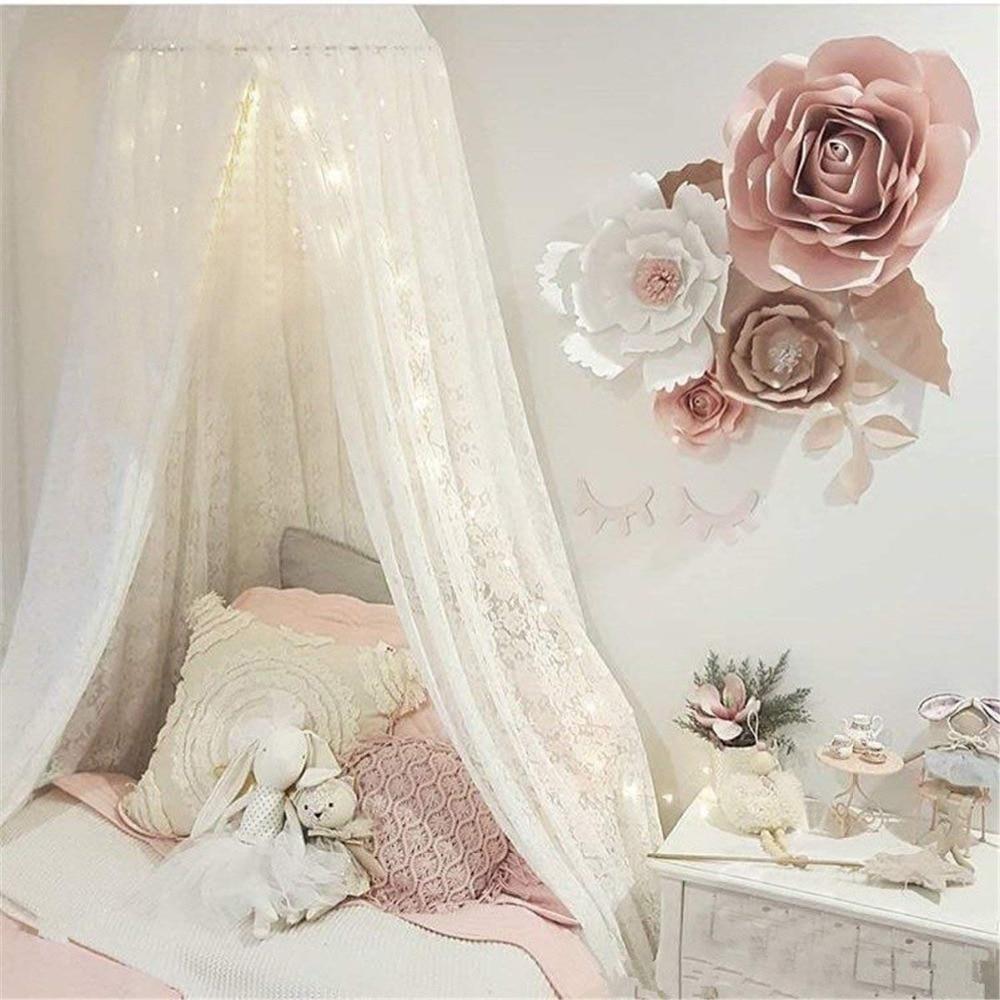 Onvermoeibaar Elegante Kant Prinses Wieg Baby Bed Luifel, Ins Ronde Dome Opknoping Volant Kids Play Tent Klamboe Gordijn Room Decor Wit