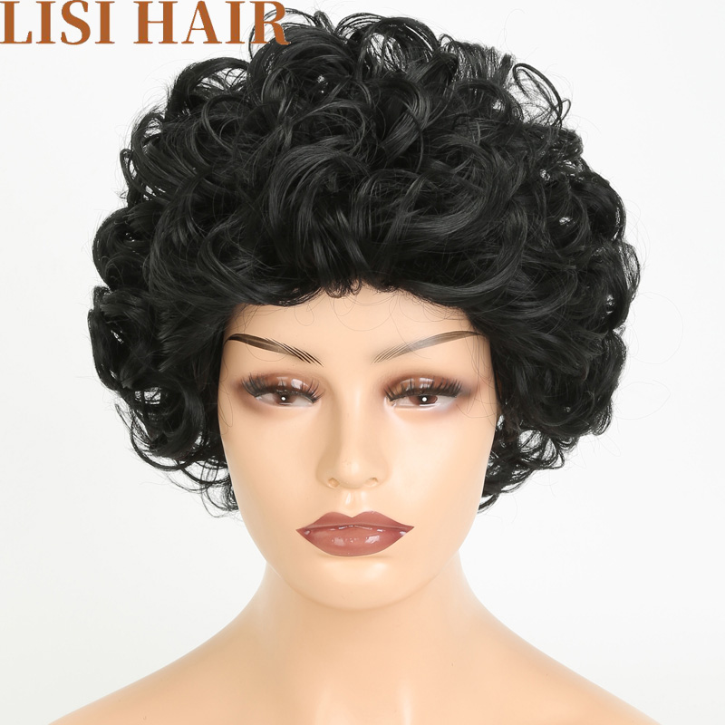 Lisi Hair Afro Wavy Short Curly Synthetic Wigs For Black Women Black Color Curly Hair Wig 6 Inch Heat Resistant Fiber 220g