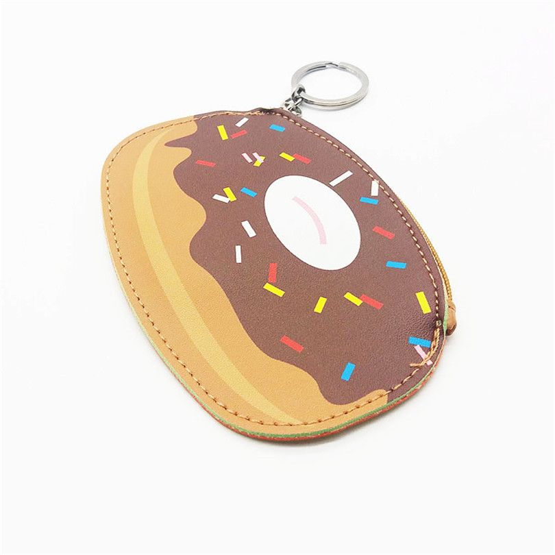 Want Go Portable Small Key Pouch Bag For Girls Cute Donuts Design Women PU Leather Zipper Coin Purse Fashion Lady Small Wallet