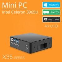 Mini PC Celeron 3965U Windows 10 4K Support HDMI VGA USB3 0 300M WiFi TV Box