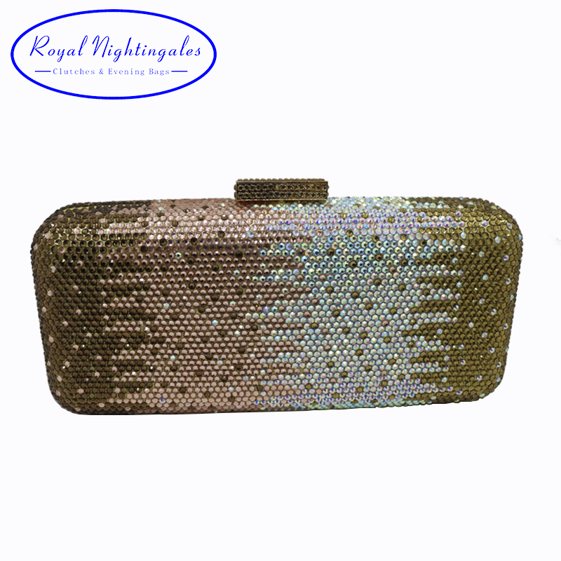 Wholesale Womens Golden Crystal Box Hard Case Evening Clutch Bag and Evening Bags