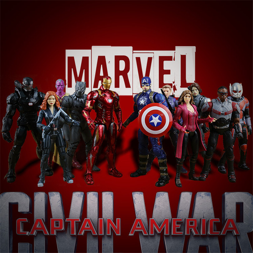 Action figure toys Captain America Civil War Black Panther Winter Soldier Falcon Scarlet Witch Vision Hawkeye Model colle