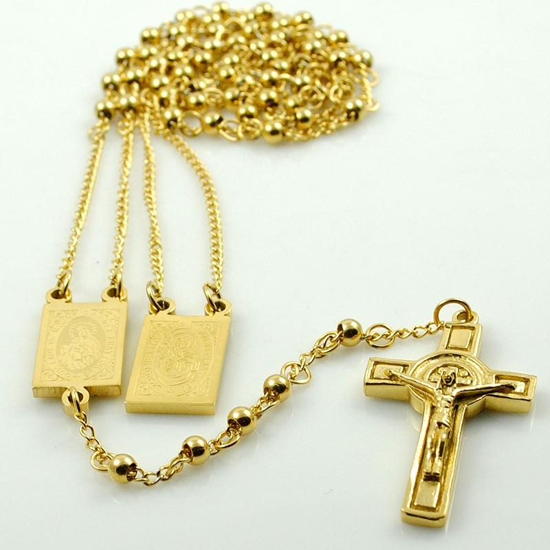 AMUMIU Gold Farbe Rosenkranz Perlen Jesus Stück Kreuz Religiöse - Modeschmuck - Foto 4