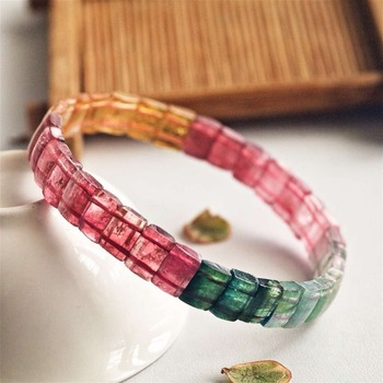 Top Quality Natural Rainbow Tourmaline Colorful Rare Bracelet Clear Rectangle Beads 8mm Crystal Brazil Bangle AAAAAA Certificate