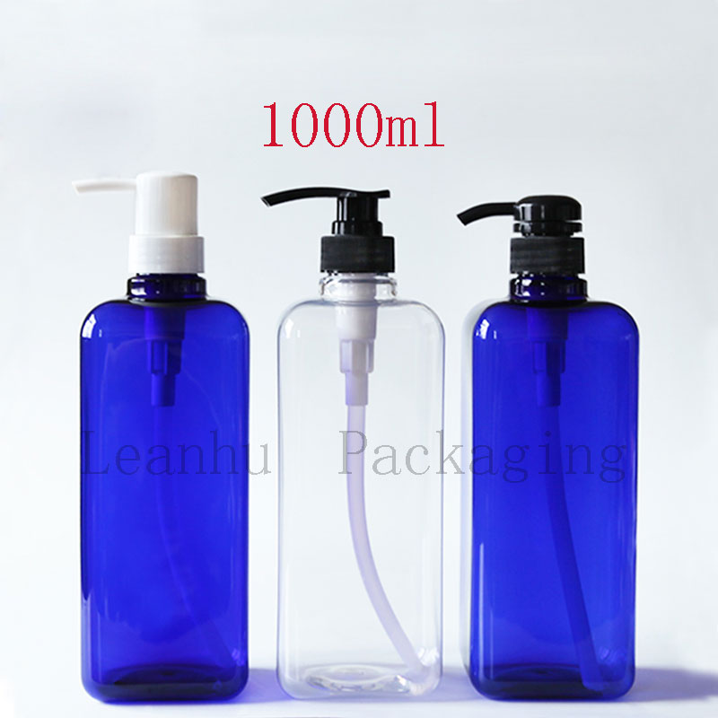 Square Plastic Pump Bottle,Empty Cosmetic Containers And Packaging,1000ML Shampoo, Shower Gel,Lotion Container,PET Water Bottle alcohol and liquid container bottle white 180ml
