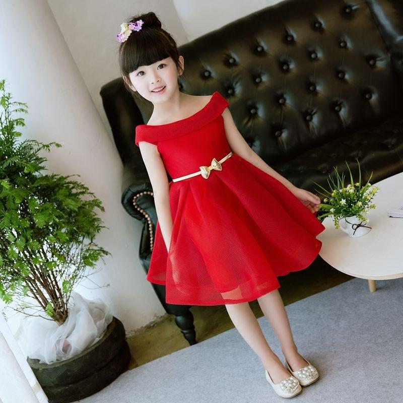 Robe à épaules dénudées exquise robes de soirée pour enfants costumes de princesse enfants filles rétro vintage sans épaule filles pageant rouge