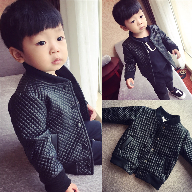 ФОТО Children's clothing leather clothing male child stand collar jacket 2015 child autumn and winter children outerwear baby
