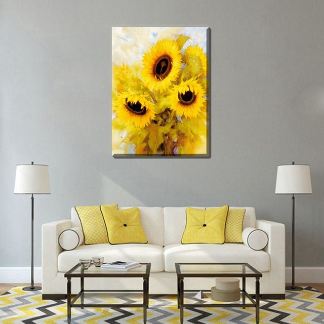 Sunflower Oil Canvas Painting Print Wall Art High Quality Flower ...