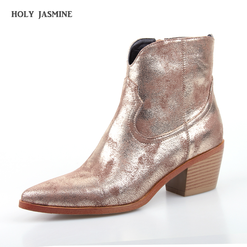 2019 New Spring/Autumn Sexy Golden Bling Gladiator Women boots Shoes Zipper High Heels Square heel Pointed Toe Western boots