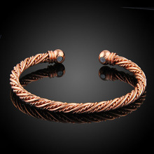 LAKONE Fashion Jewelry Pure Copper Cuff Bracelets Rose Gold Color Magnetic Wrist Bangle Bracelet For Women B21