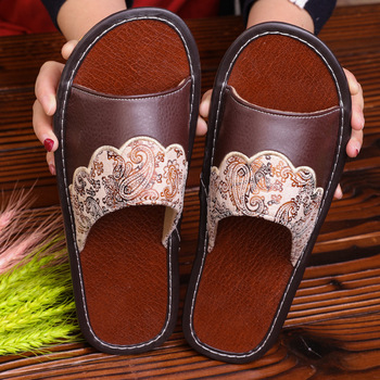 STONE VILLAGE Plus Size 35-44 Summer Indoor Household Home Slippers Non-Slip Couple Leather Slippers Shoes Men Women Slippers 5