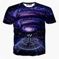 2016 Más Reciente galaxy espacio impreso creativo camiseta 3d hombres camiseta de verano de la novedad 3D psicodélico t-shirt ropa de los hombres camisa de los hombres