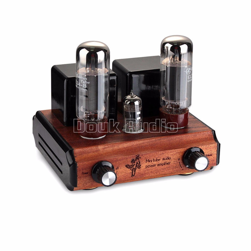 Douk Audio Super Mini Pure handmade EL34 Vacuum Tube Integrated Amplifier HiFi Stereo Class A Power Amp 10W appj pa1501a mini stereo 6ad10 vintage vacuum tube amplifier desktop hifi home audio valve tube integrated power amp