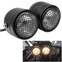 Motorcycle Dominator Grill Twins Dual Headlight Streetfighter Double Headlamp For Harley Cafe Racer Honda Yamaha Custom Bobber
