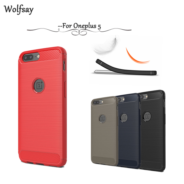 newest collection 5a599 ccc33 US $2.51 41% OFF Wolfsay case Oneplus 5 Cases Cover Soft TPU Brush Rugged  Armor Coque sFor Phone Case Oneplus 5 Case Oneplus 5 A5000 1+5 Fundas !-in  ...