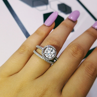 Moonso Fashion Design 925 Silver Couple Rings AAA CZ Stone Engagement Ring Set for Women Wedding Jewelry LR4626S