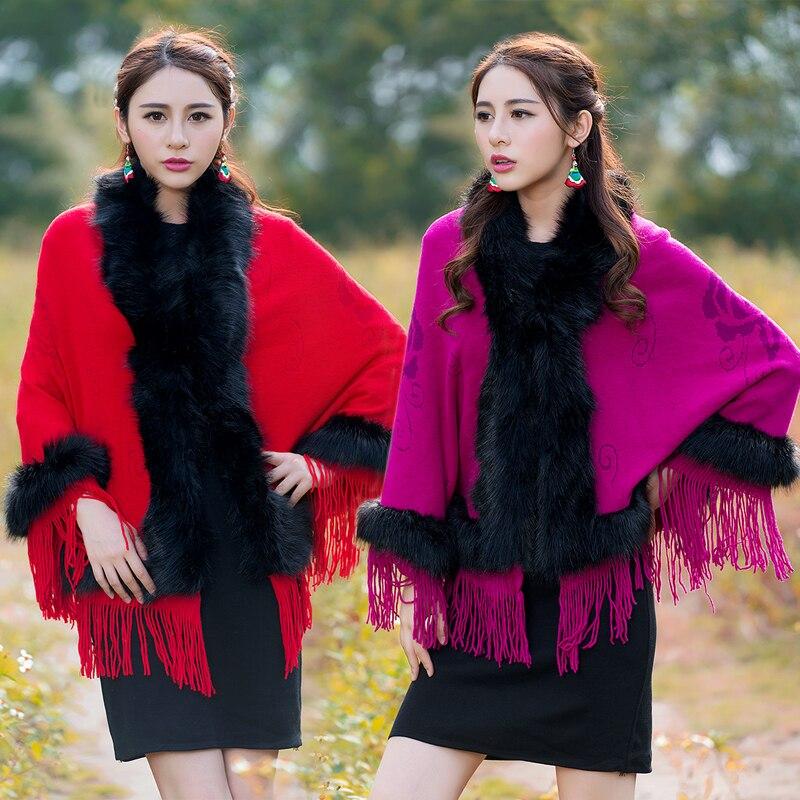 New 2016 Winter Women Sweater Fur Decoration Cloak Top Knitted Coat Outside Pure Color Tassel Coat Free Size Knitwear Design