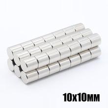 50 sztuk 10x10mm płaskie magnesy neodymowe NdFeB 10x10mm super silny potężny rzadko ziemia 10mm x 10mm N35 mały okrągły magnes