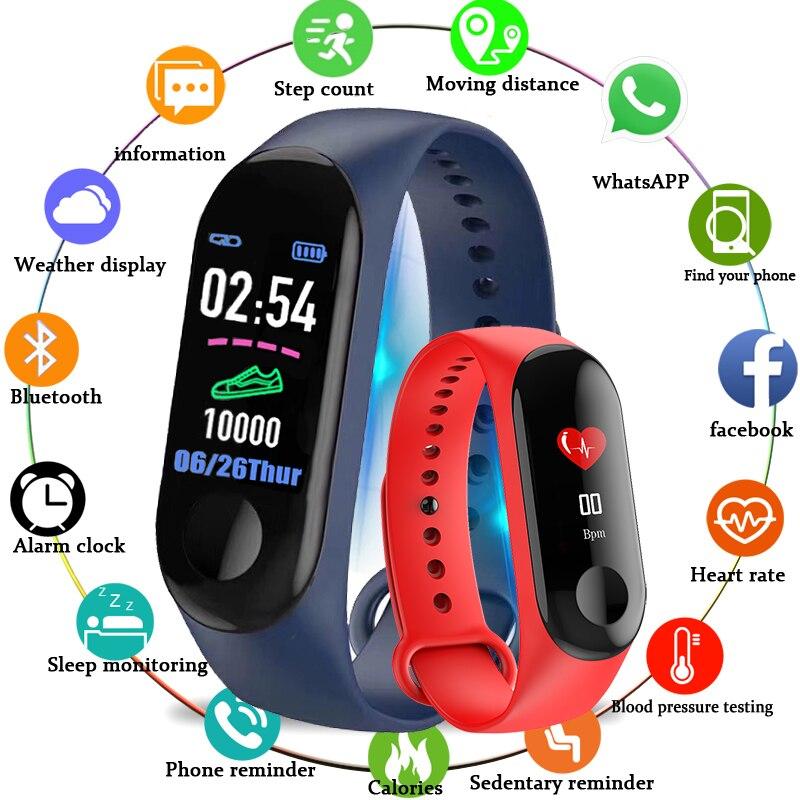 M3 Braccialetto Intelligente di Colore-schermo IP68 Inseguitore di Fitness di pressione sanguigna Monitor di Frequenza Cardiaca Smart band Astuto della Vigilanza di Uomini Per Gli Uomini di android IOS