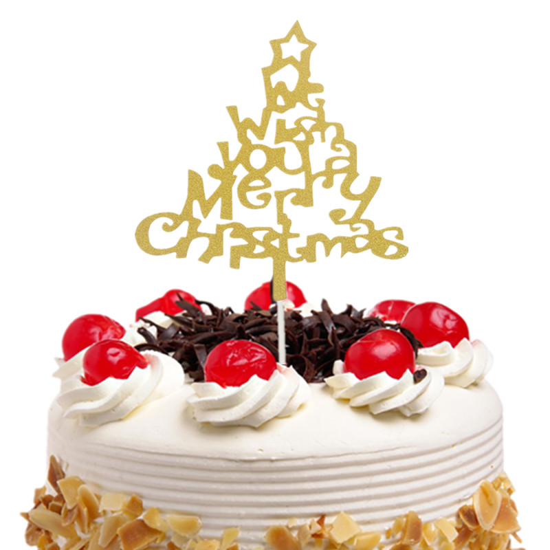 Wish You Merry Christmas Gold Cake Topper Flags Gillter Cake Toppers Kids Birthday Wedding Baby Shower Party Baking DIY Decor