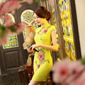 Nueva llegada del verano de estilo tradicional chino dress mini cheongsam de las mujeres Noble Delgado Qipao Ropa Tamaño S M L XL XXL F052703