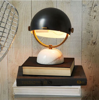 ZYY Retro Imitation Copper Black Marble Base Reading Table Lamp Semi Circular Bedside Lamp Living Room
