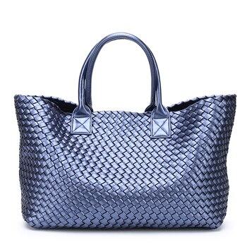 Women's Handbags Weaving PU Leather Female Big Bag 2018 Shoulder Travel Shopping Bag Large Capacity Basket Bag Bolsa Feminina