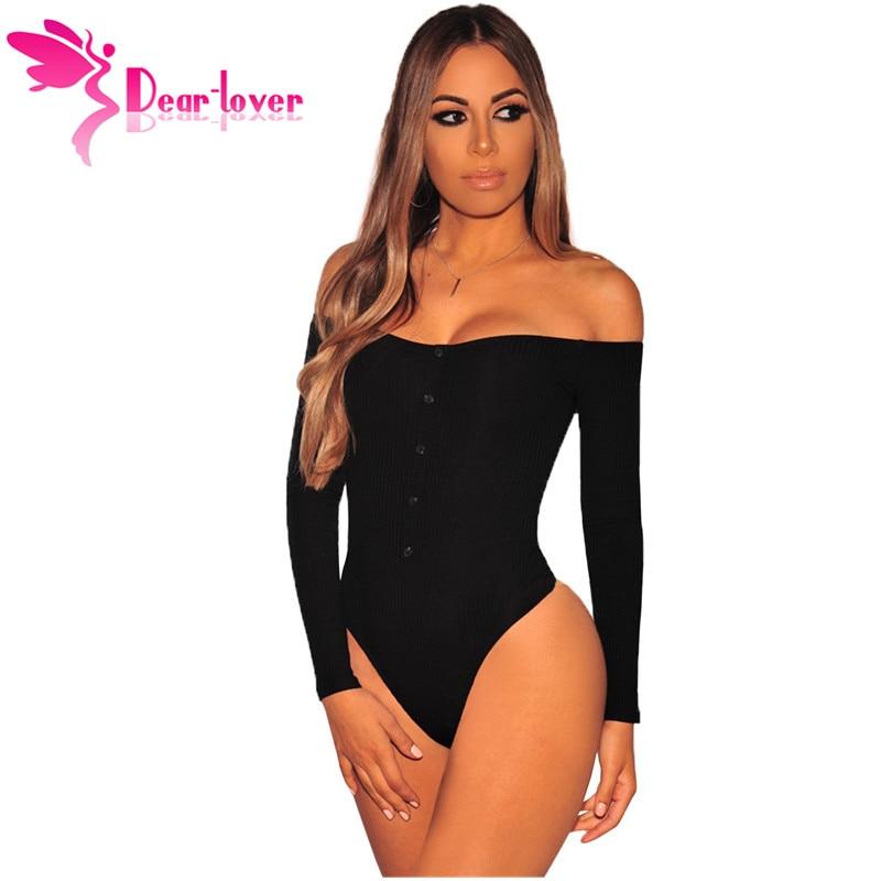 Dear Lover Black Off Shoulder Sexy Bodysuit Women Long Sleeve Slash Buttons Bodycon Rompers Womens Jumpsuit Spring Autumn C32322
