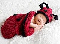 Neonato cotone latte cappello clothing set baby boy ragazza coccinella handmade crochet del bambino beanie cap maglia copricapo fotografia prop