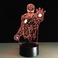Color Changing 2016 Remote Avengers Mavel 3D Lamp LED Night Light IRON MAN 3D Illusion Night