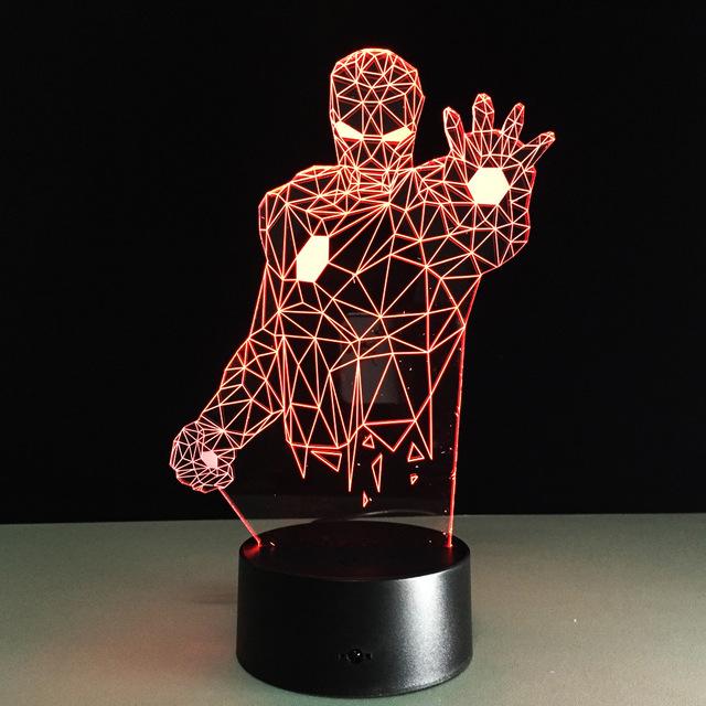Mudança de cor remoto 2017 Mavel Avengers 3D lâmpada LED Night Light HOMEM DE FERRO 3D ilusão night lamp table desk lamp iluminação para casa