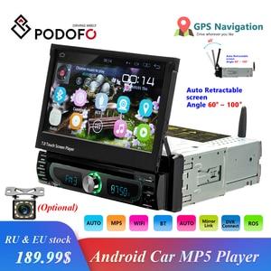 "Image 1 - Podofo Autoradio Android Auto Stereo Empfänger Radio GPS Navigation 1 Din 7 ""Versenkbare Touch Screen DVD Multimedia Spieler"