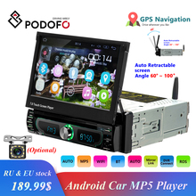 """Podofo Autoradio Android Car Stereo Receiver Radio GPS Navigation 1 Din 7"""" Retractable Touch Screen DVD Multimedia Players"""