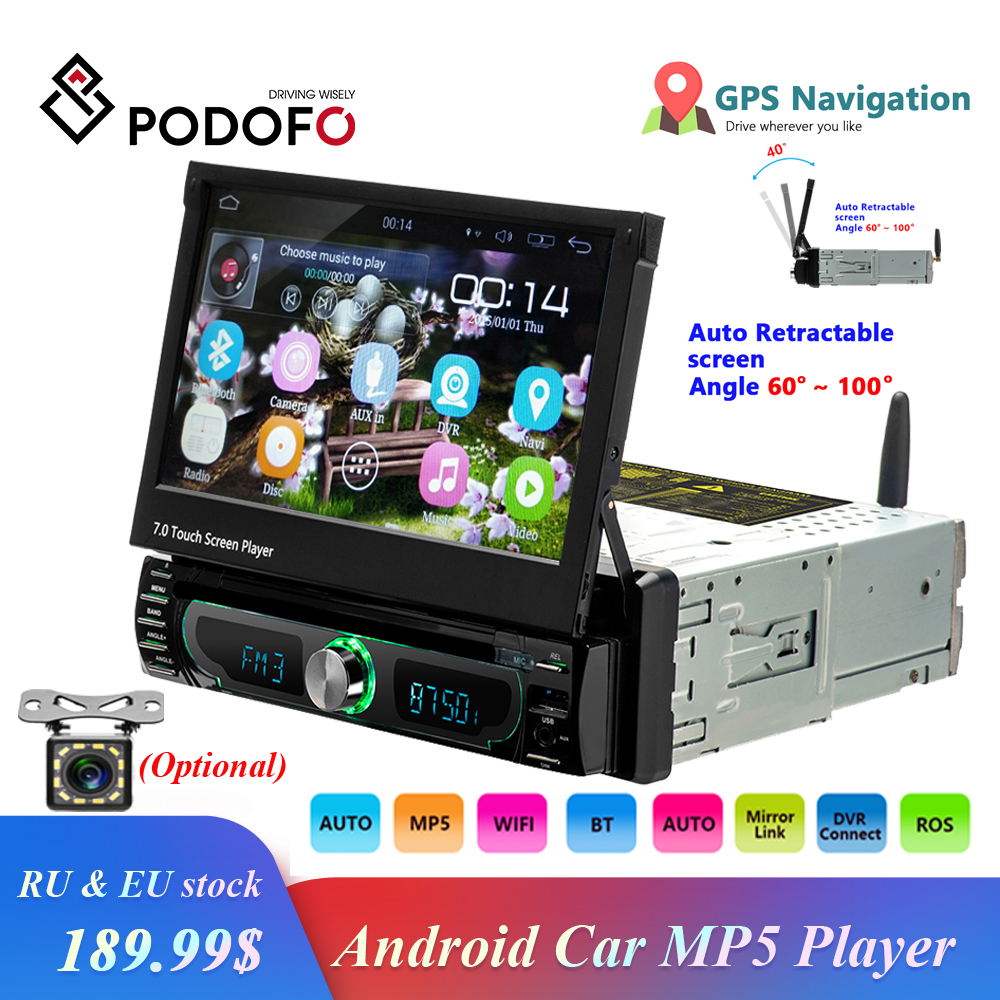 Podofo Autoradio Android Car Stereo Radio GPS Navigation 1 din 7 Retractable Touch Screen Car DVD Multimedia Players car audio image