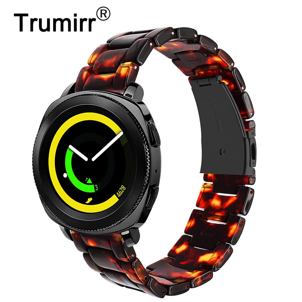 Resin Watchband 20mm for Samsung Gear Sport R600 Gear S2 Classic R732/R735 Quick Release Watch Band Steel Clasp Strap Wristband