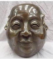 wholesale factory Decoration Crafts Brass 11 Tibet Bronze Buddhist Happy Laughing Xi Nu Ai Le 4 Face Buddha Head Statue