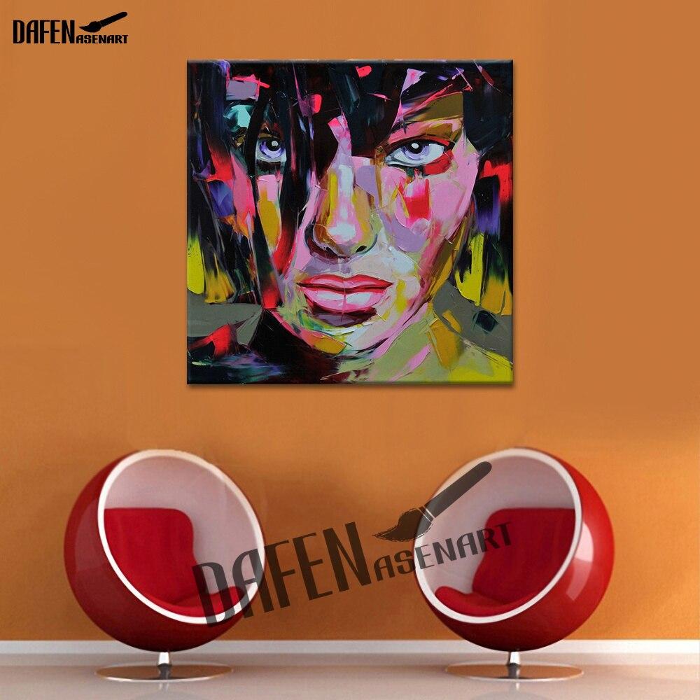 La fille-mode Pop Art décoration pour la maison bureau Bar café Palette couteau Figure 100% peint à la main peinture à l'huile mur Art
