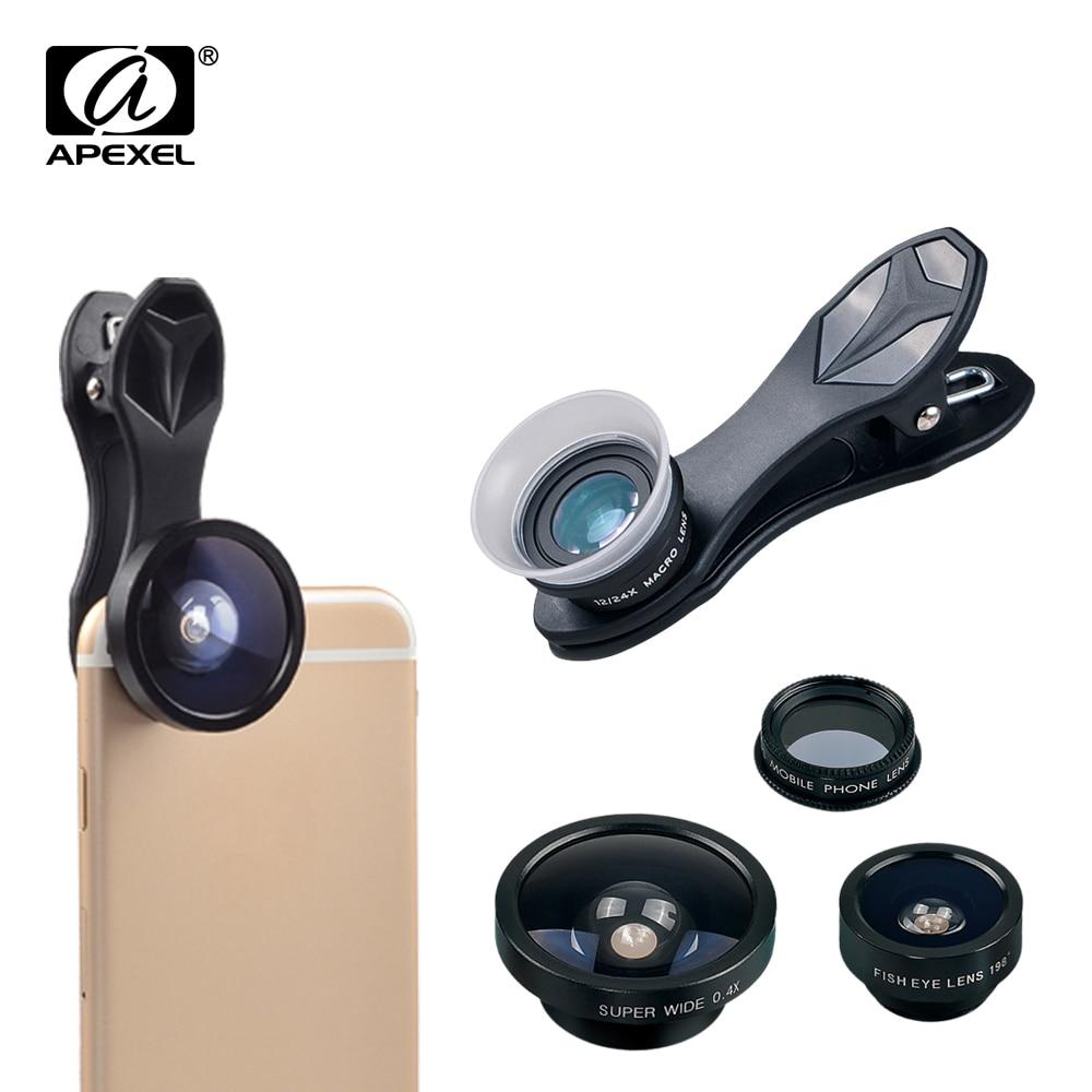 bilder für APEXEL Universal Clip 5 in 1 Fischaugen-objektiv Weitwinkel Objektiv Macro lente Handy-kamera-objektiv CPL OBJEKTIV für iPhone XIAOMI SJ5