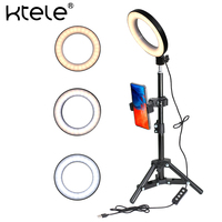 KTELE 6 Selfie Ring Light with Tripod Stand for YouTube Video and Makeup with Cell Phone Holder Desktop LED Lamp