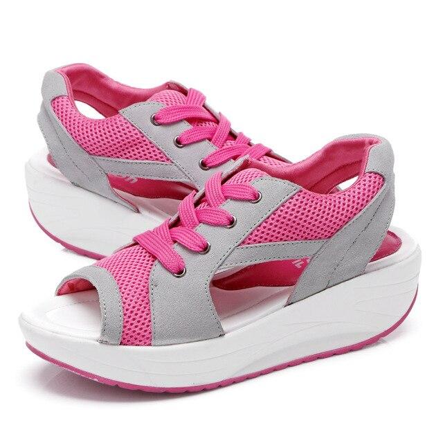 New 2017 women sandals Open toe sandalias slimming summer wedges platform beach slippers