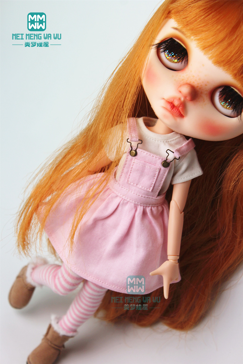 1PCS Blyth Clothes Fashion White T-shirt And Pink Strap Dress For Blyth Azone 1/6 Doll Accessories