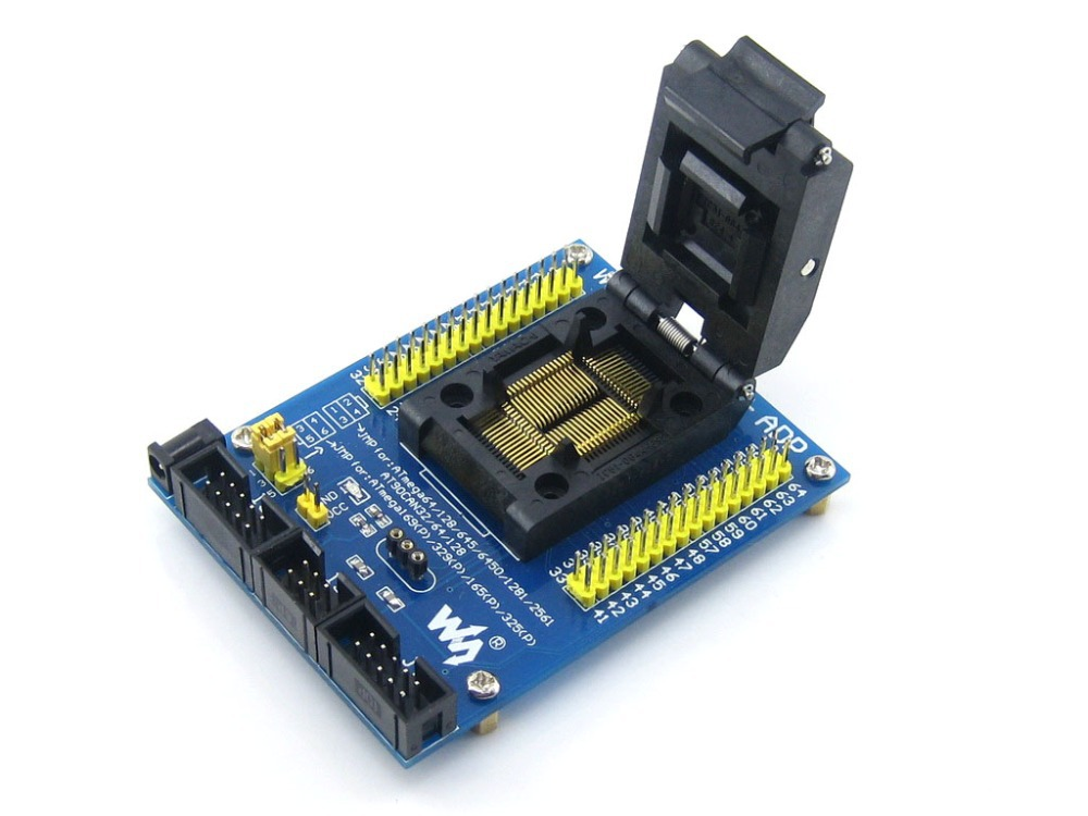 module M64+ ADP ATmega64 ATmega128 ATmega169 mega64 mega128 mega169 TQFP64 AVR Programming Adapter Test Socket + Free Shipping diy atmega64 develop chip board set with avr downloader cable