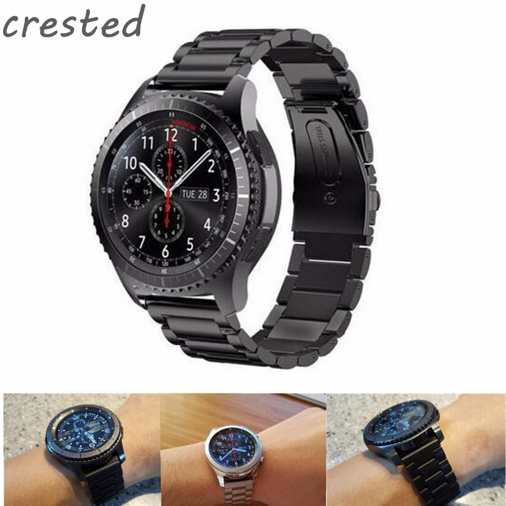 CRESTED 22mm Stainless Steel Watch Band for Samsung Gear S3 Class/Frontier Replacement Wristbands Link bracelet Wristwatch band цены онлайн