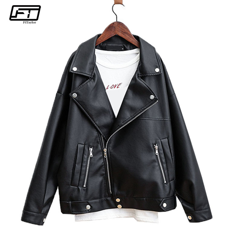 Fitaylor Autumn Women Pu   Leather   Jacket Rivet Zipper Turn-down Collar Loose Black Short Faux   Leather   Punk Jackets