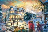 gratis verzending thomas schilderij landschap winter sneeuw spoor trein op hoge kwaliteit canvas kunst giclee prints